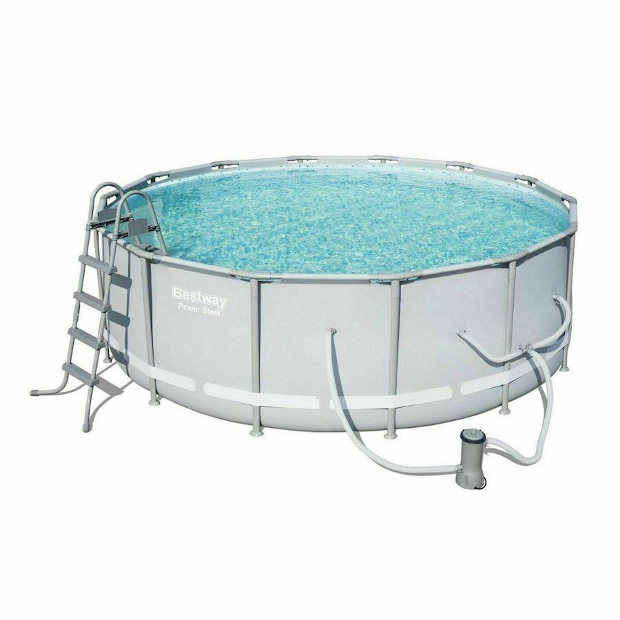 """Bestway 14' x 48"""" Power Steel Frame Above Ground Round Swimming Pool Set f02e8e20-5f4e-45fe-b939-3431c333a4be"""