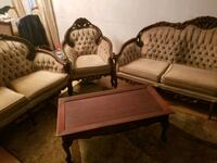 brown wooden framed beige padded sofa set Toronto, M2R 1E1