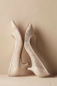 """BHLDN Darcy Lace Flats/NWT and in Box/2"""" Satin Wrapped Heel/Handmade  Asheville, 28806"""
