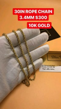 "10K REAL GOLD 30"" ROPE CHAIN.  Toronto, M1K 1N8"