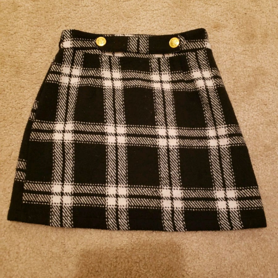 [ NEW ] Black Checkerd Mini skirt with gold buttons