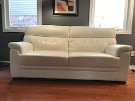 White genuine leather sofa couch