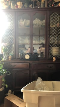 brown wooden framed glass display cabinet London