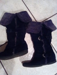 Black suede boots with grey fur Springfield, 65803