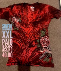 red and black Sinful Women's XXL t-shirt