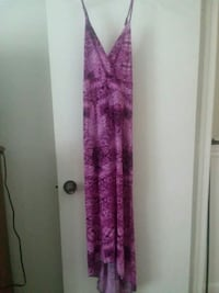 purple and white floral spaghetti strap dress Cheyenne