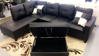 black leather sectional sofa with throw pillows North Highlands, 95660