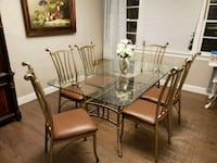 rectangular glass top table with six chairs dining set Jackson, 08527