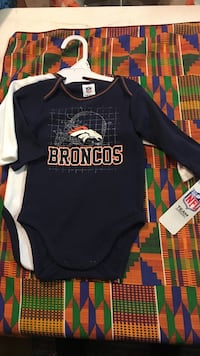 Two 3-6month old blue and white Denver Broncos print long-sleeve onesies Goochland