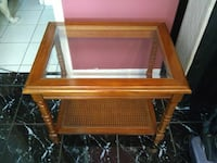 Vintage Glass And Wood End Table Longwood, 32779