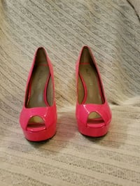 pair of red leather peep-toe heeled shoes Brampton