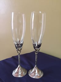 2pc Flutes glass & silver by S. International C.O. Woodbridge, 22191