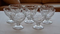 8 FOOTED TEXTURED GLASS DESSERT DISHES - No Cracks or Chips - GREAT CONDITION  Coquitlam, V3K 1H2