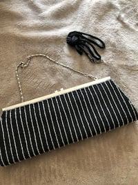 Black clutch purse 2 different straps. Sequence stripes. Used once or twice only   Cambridge, N1T 0B3