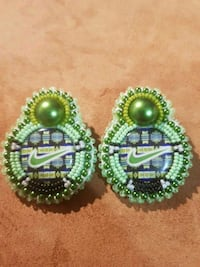 two green-and-blue beaded earrings Edmonton, T5G 1H3