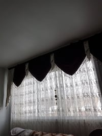 white and black floral window curtain Laval, H7S 1Z4