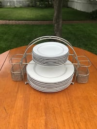 White and silver dish set with caddy. Listed for 20 will negotiate! Islip, 11730