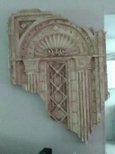 broken white and pink wall decor