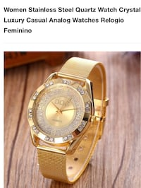 Women Stainless Steel Quartz Watch Crystal Luxury Casual Analog Watch