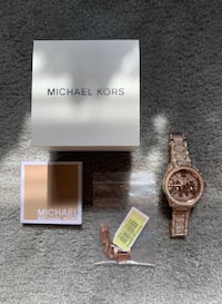Rose Gold Michael Kors Watch w/Swarovski Crystals + Original Packaging Franklin, 37064