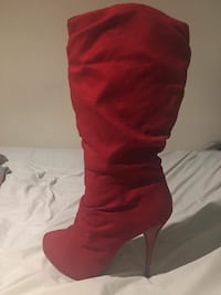 Red Suede Mid Calf Boot