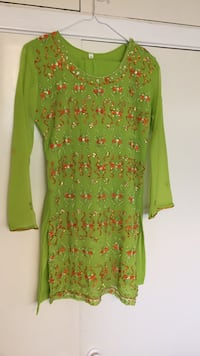 Green and Orange Indian suit firm priced