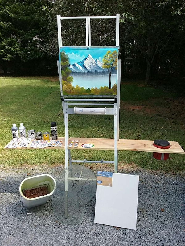 Used Bob Ross Easel And Paintsbrushes Books For Sale In Waxhaw Letgo