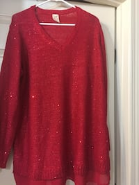 knitted red glitter b-neck sweater Frederick, 21703