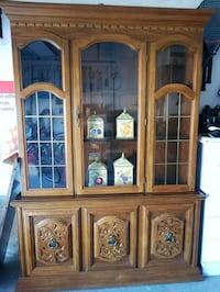 brown wooden framed glass china cabinet Vaughan, L4J 9B5