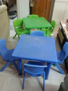 Set of kids table chairs