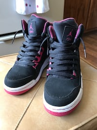 white-pink-and-white Air Jordan basketball shoes