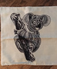 black and white Koala illustration on textile Clearview, L0M 1S0