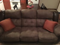 Brown Suede 3-seat sofa Mission, 78572