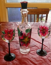 Hand-painted  Poinsettia wine set