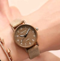 round silver-colored chronograph watch with brown  West Covina, 91792