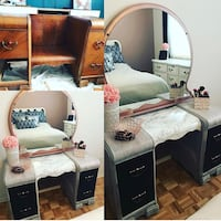 white and black wooden dresser with mirror Longueuil, J3Y 8E9