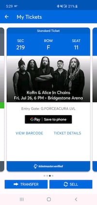 2 tickets for korn/ Alice n Chains concert Nashville