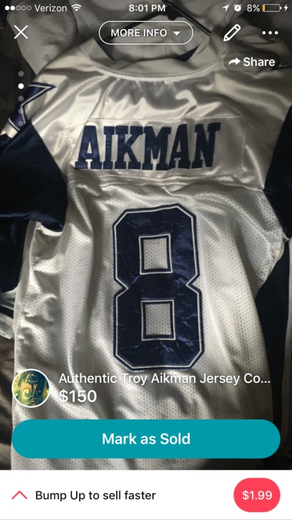 low priced eace0 a559a Authentic Troy Aikman jersey