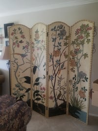 Wooden screen wrapped in leather, embellished with brass tacks and beautifully painted    Riverside, 92506