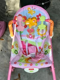 baby's pink and green bouncer