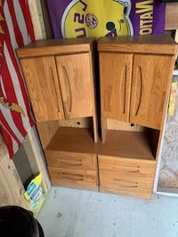 Twin Wooden Storage Cabinets