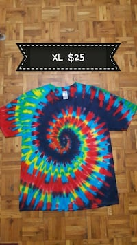 XL black, blue, and red tie-dye crew-neck t-shirt with text overlay Cambridge, N1R 4S4