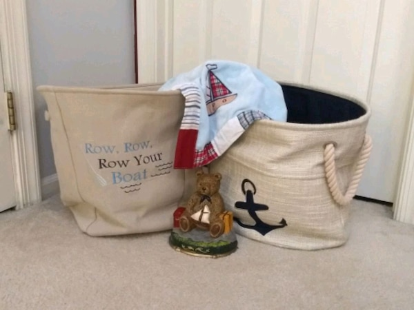 e885202098dc64 Used Nautical Nursery - storage bins, blanket and booke for sale in ...