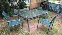 Outdoor glass table with 4 green chairs Danielson, 06239