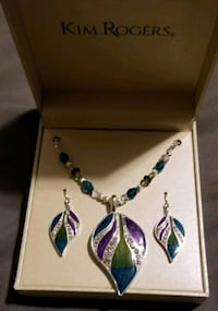 silver and blue gemstone necklace and Earrings Powell, 37849
