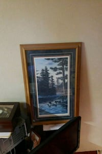 blue and white abstract painting with brown wooden frame Plymouth, 55441