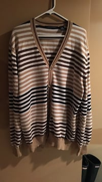 White, brown, and black stripes cardigan