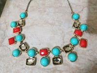 silver-colored chain with assorted-color gemstone encrusted bubble necklace Brampton, L6Y 3P7