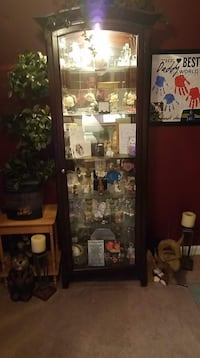 Brown wooden framed glass display cabinet Savage