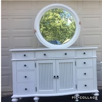 American Signature Large White 12 Drawer Solid Wood Long Dresser With Mirror  Manassas, 20112